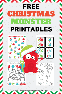 Keep your kids entertained this Christmas by letting them work on these free Christmas monster printables. #freeprintables #christmasprintables #christmas #printables