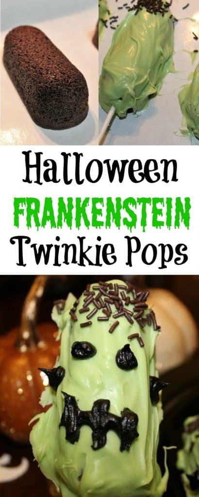 These Halloween Frankenstein Twinkie pops make the best Halloween treats.