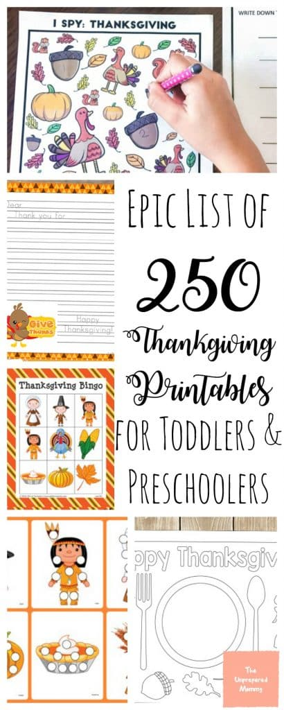 250 Free Thanksgiving Printables for Toddlers and Preschoolers The