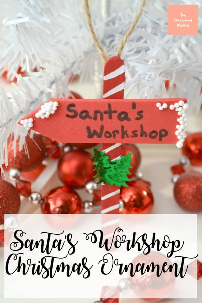 Let the kids know where to find Santa this year with this Santa's Workshop Christmas ornament! #santa #christmas #christmasornament #kids