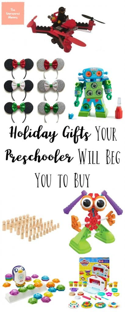 If you are stumped on what to get your preschooler for the holidays, you have to check out this holiday gift guide for preschoolers! #christmas #giftguide #holidaygifts