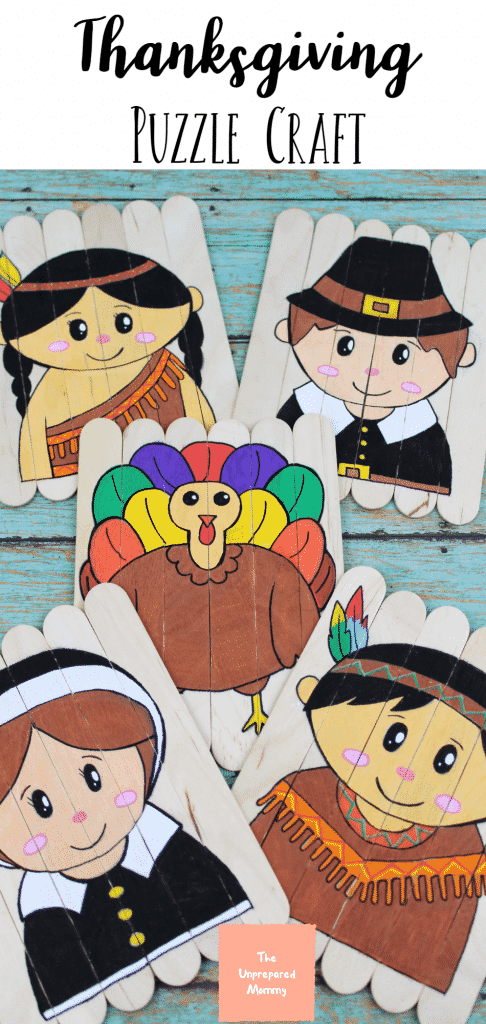 When your kids get hungry and rowdy, but the turkey isn't done yet, give them this Thanksgiving popsicle stick puzzle craft. #thanksgivingcraftsforkids #craftsforkids #thanksgiving