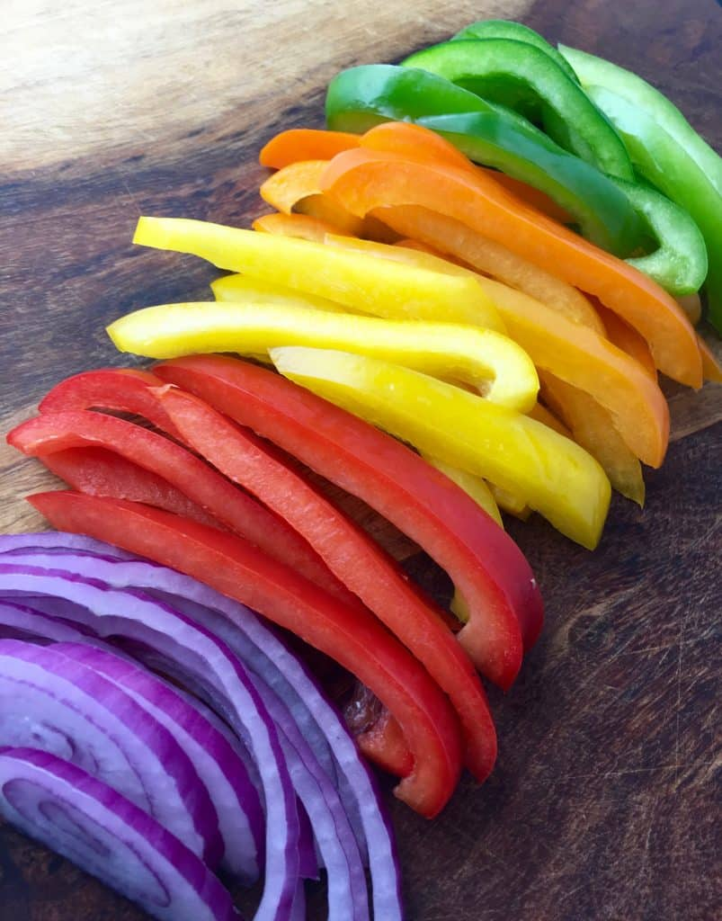 sliced peppers and onion