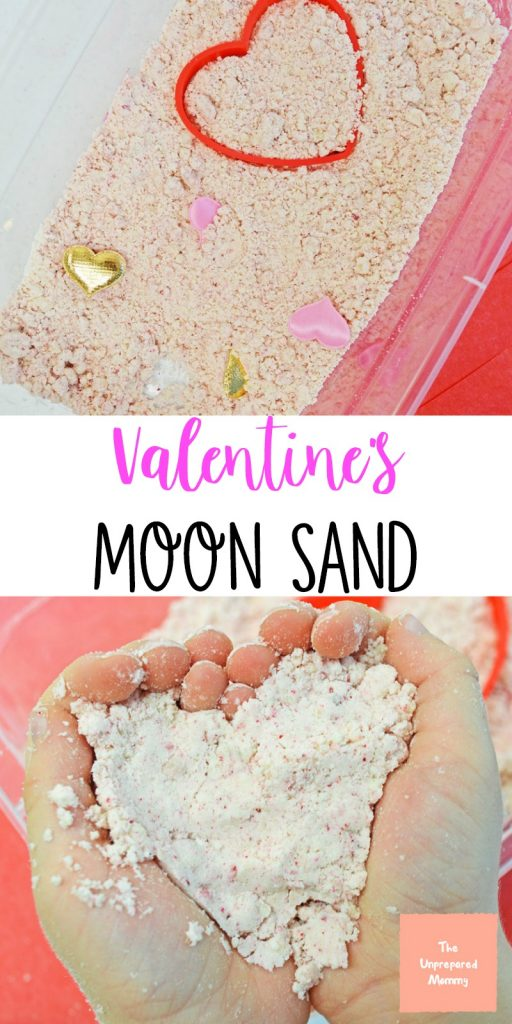bin with moon sand and child holding moon sand in the shape of a heart