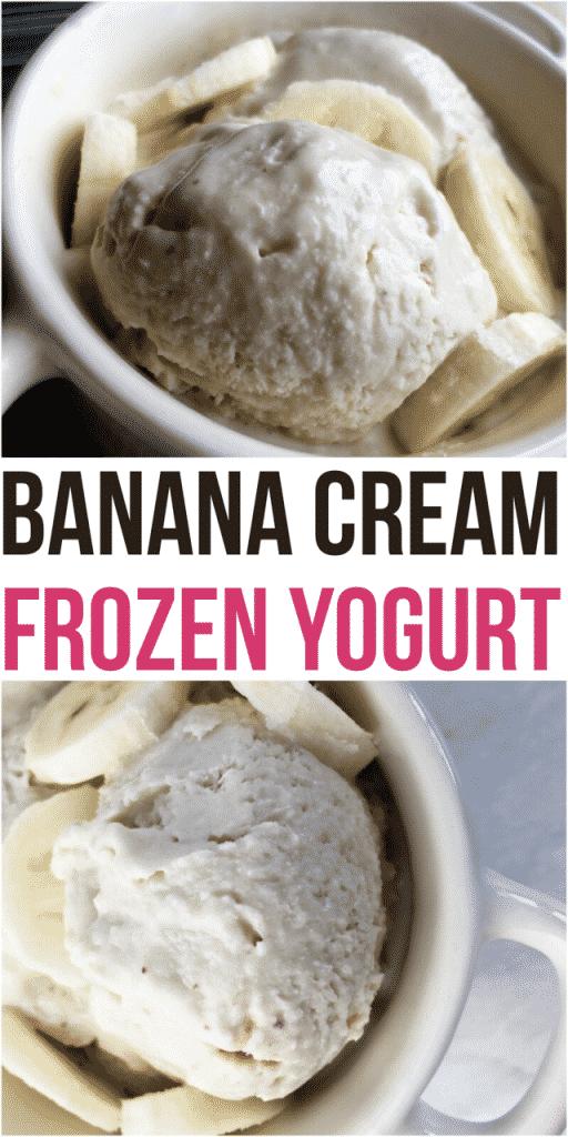mug filled with banana frozen yogurt and sliced bananas