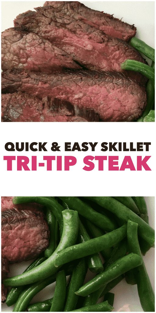 tri-tip steak cooked medium rare with green beans on a plate