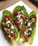 Chicken Lettuce Wraps with Creamy Cilantro-Lime Sauce