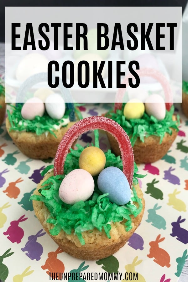 Easter basket cookies on bunny paper