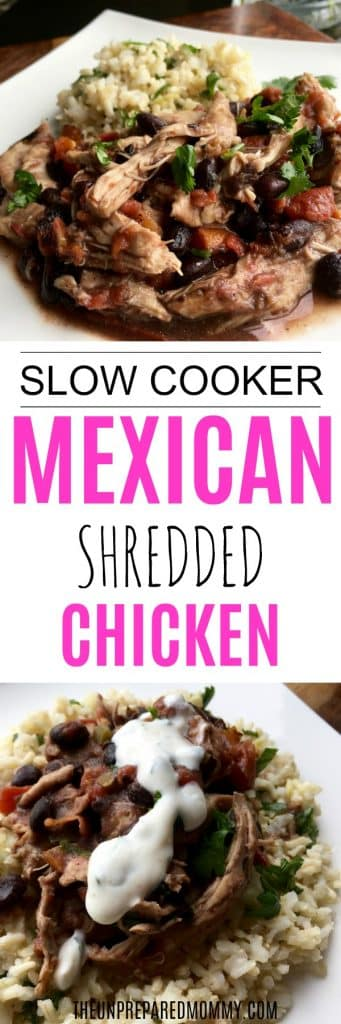 This Mexican shredded chicken is so easy to make in the slow cooker (crockpot) and will have your family begging for seconds! #crockpot #slowcooker #chicken