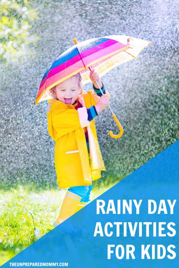 When it's pouring outside and you are stuck in the house, try one of these rainy day activities with your kids and make the boredom dry up! #kids #kidscrafts #parenting #crafts