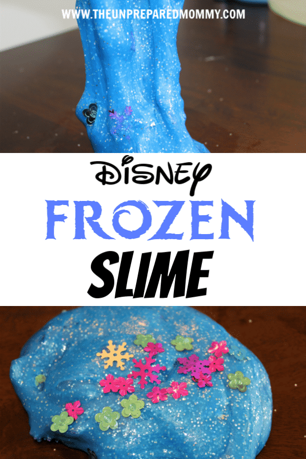 Your kids will enjoy learning how to make Disney Frozen slime with this easy recipe! #slime #disneyslime #disney #kidscrafts